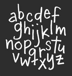 lowercase chalk alphabet hand drawn font vector image