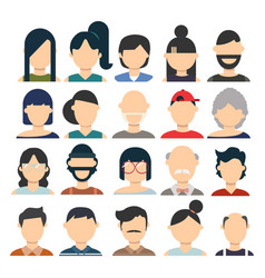 Male and female flat avatar set vector