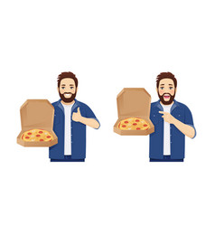Man with pizza vector