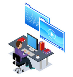 Man working on data analysis worker in office vector