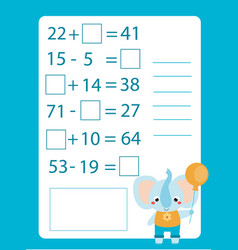 Mathematics worksheet educational game for vector
