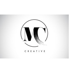 Mc brush stroke letter logo design black paint vector