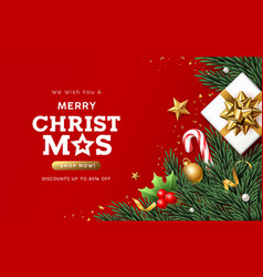 merry christmas sale white gift box with pine vector image