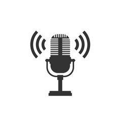 Microphone icon isolated on air radio mic vector