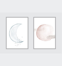 Minimal art with watercolor hand painted creative vector