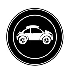 monochrome circular frame with sports car in side vector image vector image
