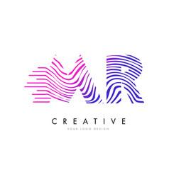 Mr m r zebra lines letter logo design with vector