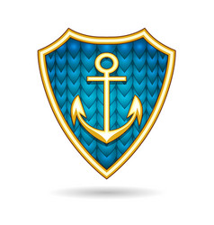 nautical emblem with anchor on a shield vector image