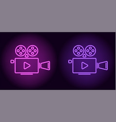 neon cinema projector in purple and violet color vector image
