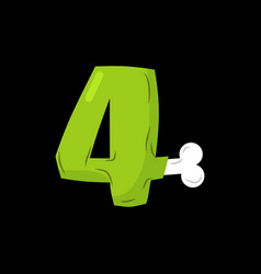 number 4 zombie monster font four bones and vector image