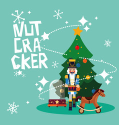 Nutcracker general with tree christmas and toy vector