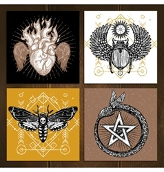 Occult Tattoo Set vector image