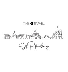 one single line drawing city st petersburg vector image