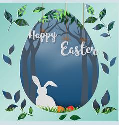 paper art in egg shape background for happy easter vector image