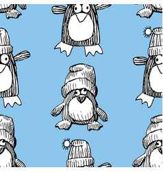 pattern funny cartoon penguins vector image