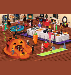 people having halloween party vector image