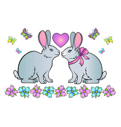 Rabbits heart and flowers with butterflies vector