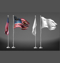 Realistic clipart with damaged dirty flags vector