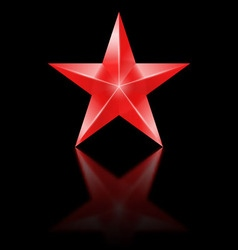 Red star on black background vector image