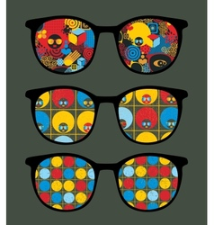 Retro sunglasses with cool summer reflection vector