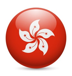 Round glossy icon of hong kong vector