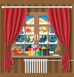 santa claus and his reindeer looks in room window vector image