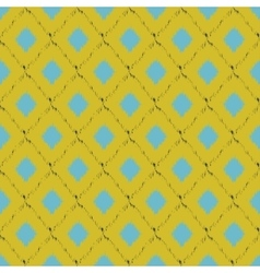Seamless ikat pattern in yellow and blue colors vector image
