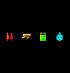Set christmas tree cannon calendar 12 june vector