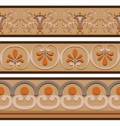 Set of ancient Roman ornaments border patterns vector