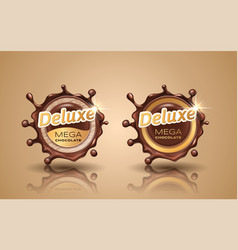 set of deluxe design labels in gold color isolated vector image