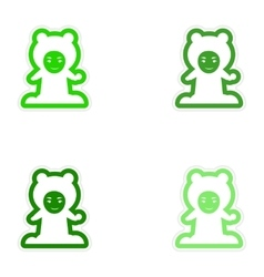 Set of paper stickers on white background child vector image