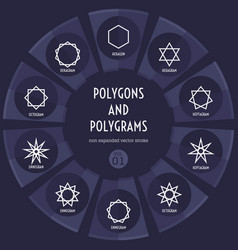Set of polygons and polygrams non expanded stroke vector