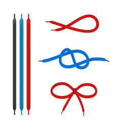 shoe laces straight and tied in different knots vector image