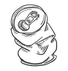 single sketch crumpled beer can vector image