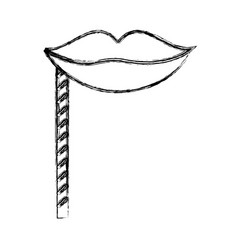 Sketch draw party booth props lips vector