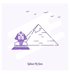 Sphinx of giza landmark purple dotted line skyline vector