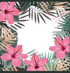 square summer border with tropical palm leaves and vector image