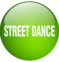 Street dance green round gel isolated push button vector