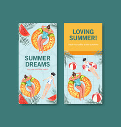 Summer flyer template design for vacation travel vector