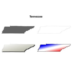 Tennessee outline map set vector image