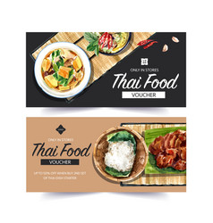 Thai food voucher design with watercolor vector