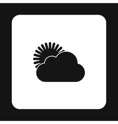 The sun appears from behind the clouds icon vector image