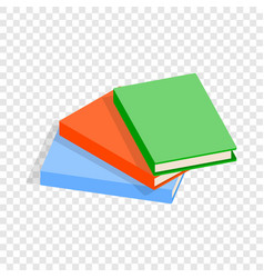 three thin books isometric icon vector image