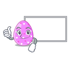 Thumbs up with board easter egg cartoon clipping vector