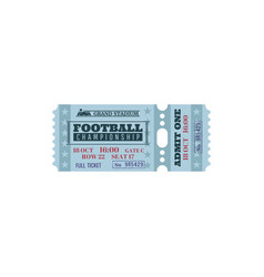 Ticket for football championship game card vector