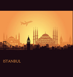 Traditional tourist symbols of turkey in the form vector