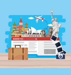 Travel destination adventure with ticket and vector