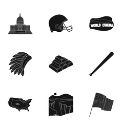 USA country set icons in black style Big vector