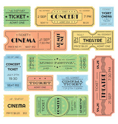 Vintage admitted cinema music festival pass vector