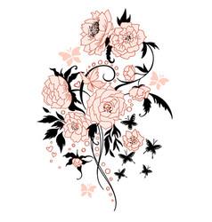Vintage flower bouquet tattoo style vector